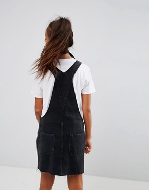 photo Denim Dungaree Dress in Washed Black by ASOS, color Washed Black - Image 2