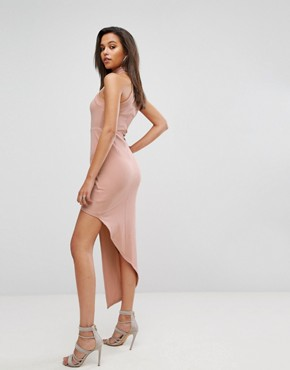 photo High Neck Bodycon Dress with Wrap Front by Parallel Lines, color Nude - Image 2
