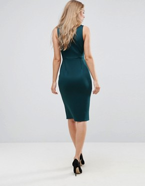photo Deep Plunge Bow Front Midi Bodycon Dress by ASOS, color Forest Green - Image 2