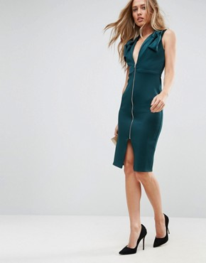 photo Deep Plunge Bow Front Midi Bodycon Dress by ASOS, color Forest Green - Image 1