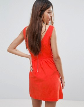 photo Santa Maria Dress with Lace Up Sides by Valley Of The Dolls, color Orange/Red - Image 2