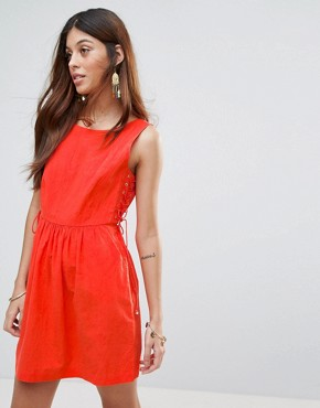 photo Santa Maria Dress with Lace Up Sides by Valley Of The Dolls, color Orange/Red - Image 1