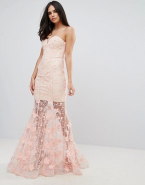 photo Sweetheart 3D Floral Maxi Dress by Forever Unique, color Pink - Image 1