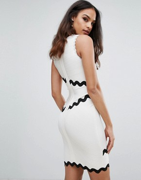 photo Bandage Dress with Contrasting Scalloping by Forever Unique, color White - Image 2