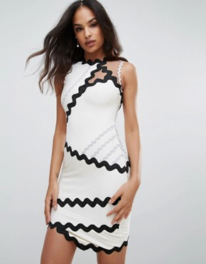 photo Bandage Dress with Contrasting Scalloping by Forever Unique, color White - Image 1