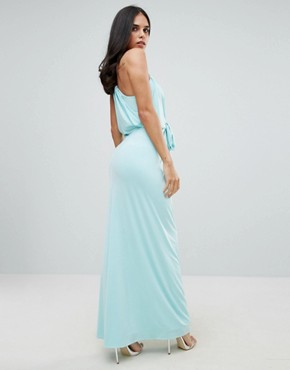 photo Cami Maxi Dress with Tie Waist by Forever Unique, color Blue - Image 2