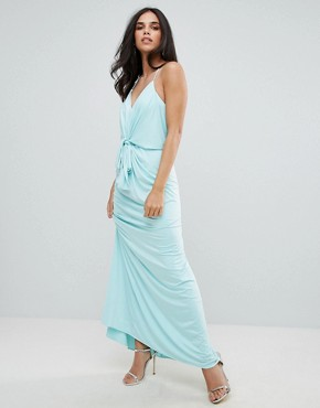 photo Cami Maxi Dress with Tie Waist by Forever Unique, color Blue - Image 1
