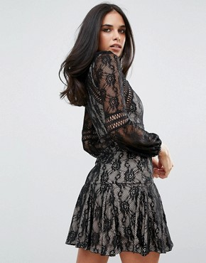 photo Lace Long Sleeve Smock Dress by Forever Unique, color Black - Image 2