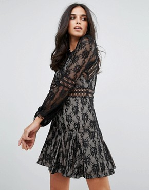 photo Lace Long Sleeve Smock Dress by Forever Unique, color Black - Image 1