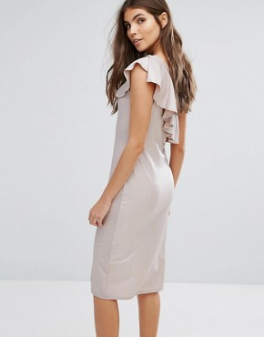 photo Frill One Shoulder Dress by Love, color Beige Foil - Image 2