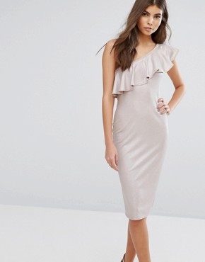 photo Frill One Shoulder Dress by Love, color Beige Foil - Image 1