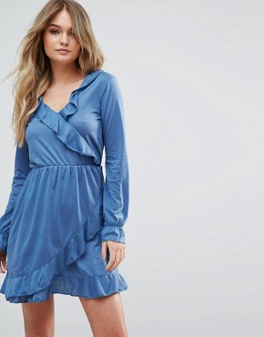 photo Flute Wrap Dress by Brave Soul, color Storm Blue - Image 1
