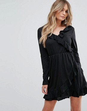 photo Flute Wrap Dress by Brave Soul, color Black - Image 1