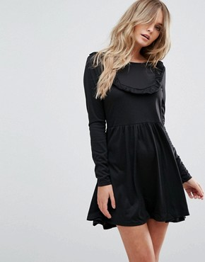 photo Tippie Skater Dress with Frill Bib by Brave Soul, color Black - Image 1
