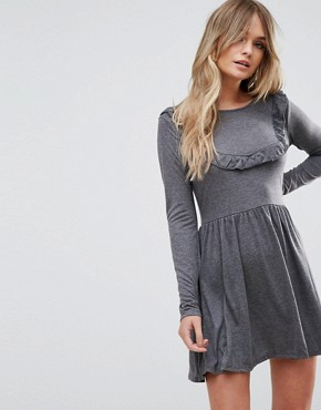photo Tippie Skater Dress with Frill Bib by Brave Soul, color Charcoal - Image 1