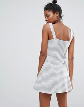 photo Gwen A-Line Dress in Stripe by Brave Soul, color Grey Mark/White - Image 2