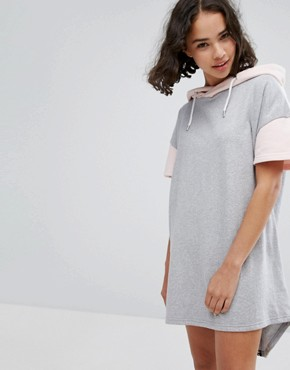 photo Colourblock Hooded Sweater Dress by Cheats & Thieves, color Grey/Pink - Image 2