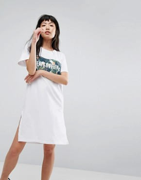 photo Tropical Logo T-Shirt Dress by Cheats & Thieves, color White - Image 1