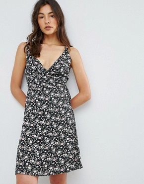 photo Floral Printed Cross Back Wrap Dress by QED London, color Black - Image 2