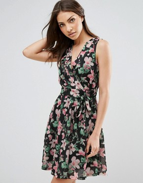 photo Printed Wrap Front Skater Dress by QED London, color Black/Pink - Image 1