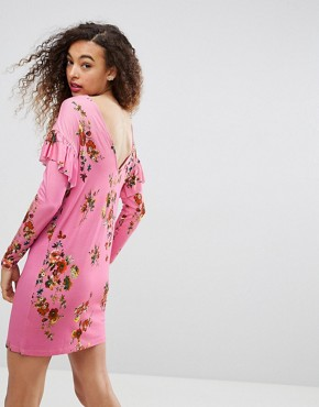 photo Mini T-Shirt Dress with Frill and Low Back in Floral Print by ASOS, color Pink Floral - Image 2