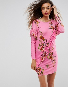 photo Mini T-Shirt Dress with Frill and Low Back in Floral Print by ASOS, color Pink Floral - Image 1