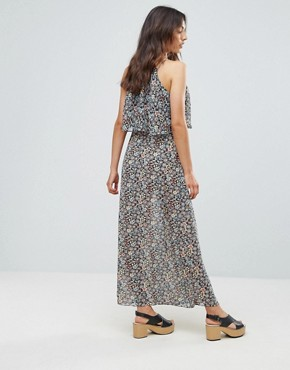 photo Printed Maxi Dress with Frill by QED London, color Navy - Image 2