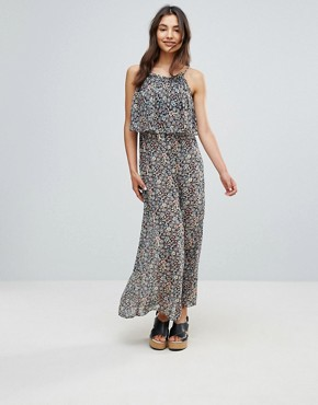 photo Printed Maxi Dress with Frill by QED London, color Navy - Image 1