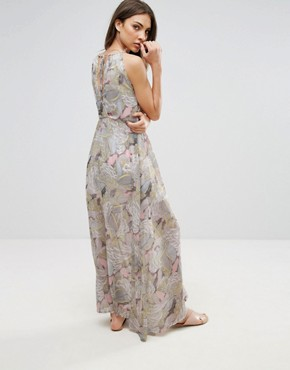 photo Flower Patterned Chiffon Maxi Dress by QED London, color Yellow - Image 2