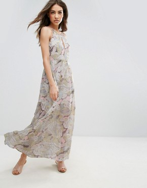 photo Flower Patterned Chiffon Maxi Dress by QED London, color Yellow - Image 1