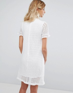 photo Lace Dress with Chiffon Frill Sleeves by QED London, color Ivory - Image 2