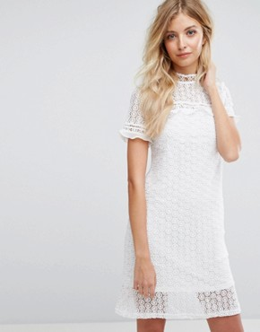 photo Lace Dress with Chiffon Frill Sleeves by QED London, color Ivory - Image 1
