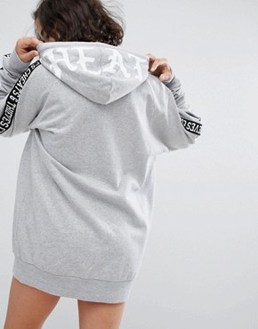 photo Sweatshirt Dress with Tape Sleeves by Cheats & Thieves, color Grey - Image 2