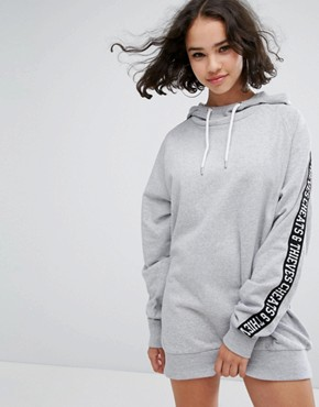 photo Sweatshirt Dress with Tape Sleeves by Cheats & Thieves, color Grey - Image 1