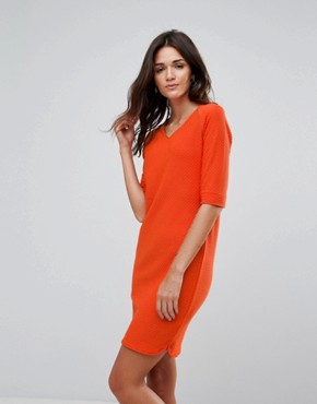 photo V-Neck Shift Dress by b.Young, color Tigerlily - Image 1