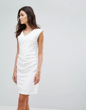 photo Gather Side Dress by b.Young, color Off White - Image 1