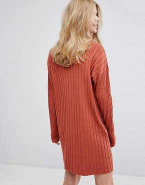 photo High Neck Knitted Rib Dress by Weekday, color Orange - Image 2