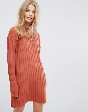 photo High Neck Knitted Rib Dress by Weekday, color Orange - Image 1