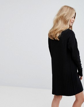 photo High Neck Knitted Rib Dress by Weekday, color Black - Image 2