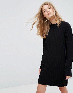 photo High Neck Knitted Rib Dress by Weekday, color Black - Image 1