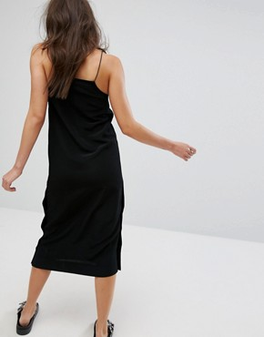 photo Side Popper Slip Dress by Monki, color Black - Image 2