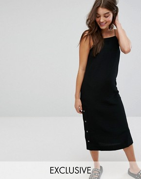 photo Side Popper Slip Dress by Monki, color Black - Image 1