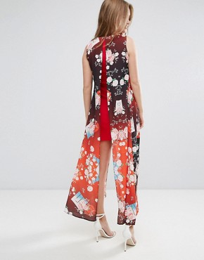 photo Shift Dress with Overlay in Eastern Print by Liquorish, color Red - Image 2