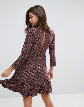 photo Drop Waist Dress with Long Sleeve by Y.A.S, color Flower Aop - Image 2