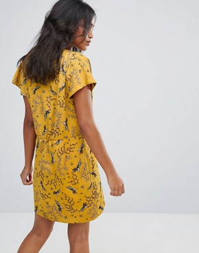 photo Wrap Front Dress in Dark Floral Print by Liquorish, color Mustard - Image 2