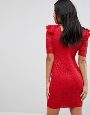 photo Lace V-Back Bodycon Mini Dress with Shoulder Ruffle by ASOS, color Red - Image 2
