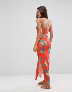 photo Maxi Dress with Cut Out Front in Red Based Floral by ASOS, color Floral Print - Image 2