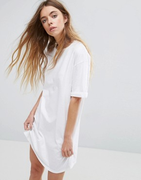 photo T-Shirt Dress with Rolled Sleeves by ASOS ULTIMATE, color White - Image 1
