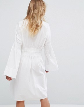 photo Tie Detail Shirt Dress by Monki, color White - Image 2