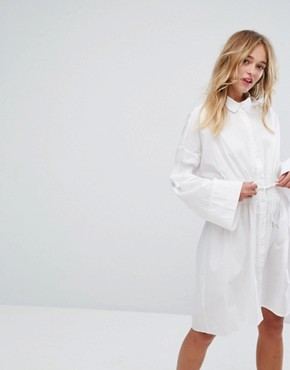 photo Tie Detail Shirt Dress by Monki, color White - Image 1